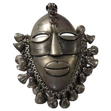 Amazing Huge Tribal Statement Mask Garnet Glass Cabochons Bells  Figural Brooch