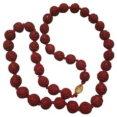Gorgeous Carved Cinnabar Chinese Export Hand Knotted Vermeil Clasp Vintage Necklace
