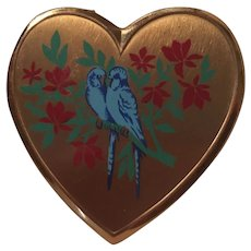 Love Birds Heart Mirror Vintage Powder Vanity Compact