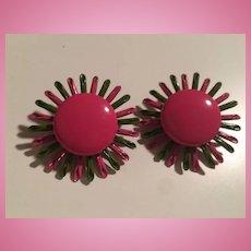 Fabulous Flower Power 1960s Enamel Vintage Clip Earrings