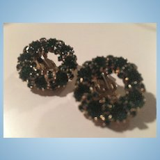 Weiss Signed Emerald Green Swarovski Crystal Vintage Clip Earrings