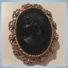 Black Glass Cameo Ornate Frame Vintage Brooch Pin Pendant