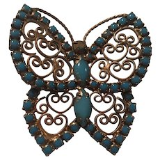 Fabulous Curved fx Turquoise Butterfly Figural Vintage Brooch Pin Pendant
