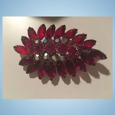 Fabulous Open Back Red Navettes AB Swarovski Crystals Statement Vintage Brooch Pin