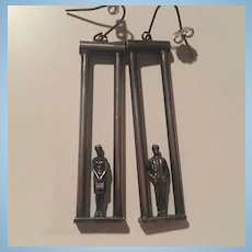 Amazing Man Woman Detailed Sterling Silver Long Hand Made Vintage Earrings