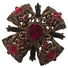 Rare Selini Signed Maltese Renaissance Revival Vintage Statement Brooch Pin