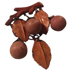 Celluloid Wood 1940s hanging Nuts Rare Vintage Brooch Pin
