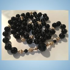 Classic 12 mm Black Onyx 10K Gold Beads 37 inch Vintage Necklace