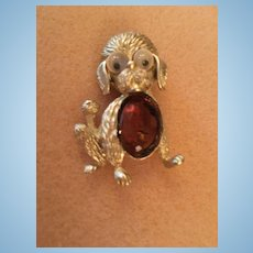 Adorable 1950s Googly Eye Doggy Brooch Pin