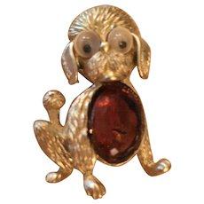 Adorable 1950s Googly Eye Doggy Brooch Pin