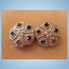 Stunning Jeweled Swarovski Crystals Statement Vintage Clip Earrings