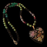 Gorgeous Cloisonne Enamel Heart Birds Real Pearls Glass Beads Vintage Upcycled Necklace OAK