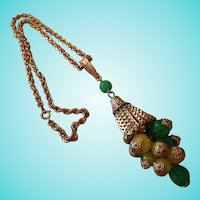 Fun Funky Statement Tassel Capped Balls Vintage Pendant Necklace