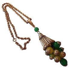 Fun Funky Statement Tassel Capped Balls Vintage Pendant Necklace