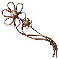 Denmark Sterling Signed AD Lovely Flower Figural Vintage Brooch Pin