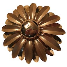 Huge Flower Power Matte Shiny Gold tone finish Vintage Statement Brooch Pin
