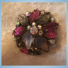 Gorgeous Fruit Salad AB Stone Art Glass Vintage Brooch Pin