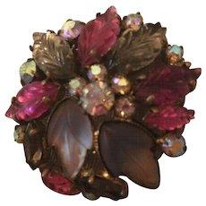 Gorgeous Fruit Salad AB Stone Art Glass Vintage Brooch Pin