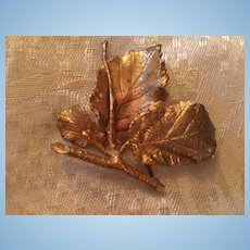 Rare Napier Sterling Vermeil Signed Leaves Vintage Brooch Pin