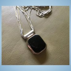 Fabulous Huge Onyx Sterling Silver Signed Octagonal Pendant Multi  Strand Chain Vintage Necklace