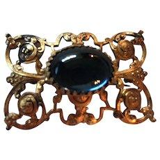 Gorgeous Blue Cabochon Art Nouveau Elaborate Frame Vintage Brooch Pin