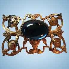 Gorgeous Blue Cabochon Art Nouveau Elaborate Frame Vintage Brooch Pin