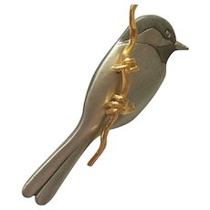 Quality Signed Pewter Bird  Figural on Gold plated Branch Vintage Brooch Pin