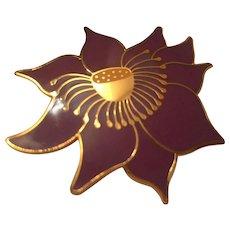 Rare Laurel Burch Signed Lotus Flower Enamel Vintage Brooch Pin