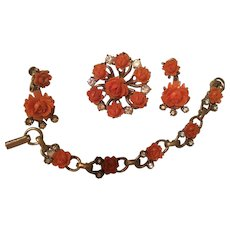 Fabulous Carved Coral Celluloid Full Parure Necklace Earrings Pin Bracelet
