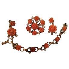 Fabulous Carved Coral Celluloid Full Parure Vintage 4 Piece Set Necklace Earrings Pin Bracelet