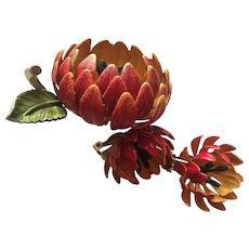 Stunning Vivid Enamel Flower Demi Set Vintage Brooch Pin Earrings