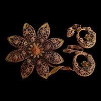 Signed ART Fabulous Enamel Flower 1960 Brooch Earrings Set