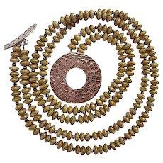 Fabulous Modernist Olive Green Jasper Sterling Silver Clasp Centerpiece Vintage Necklace
