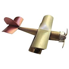 Fabulous Mixed Metals Airplane Moving Propeller Figural Vintage Brooch Pin