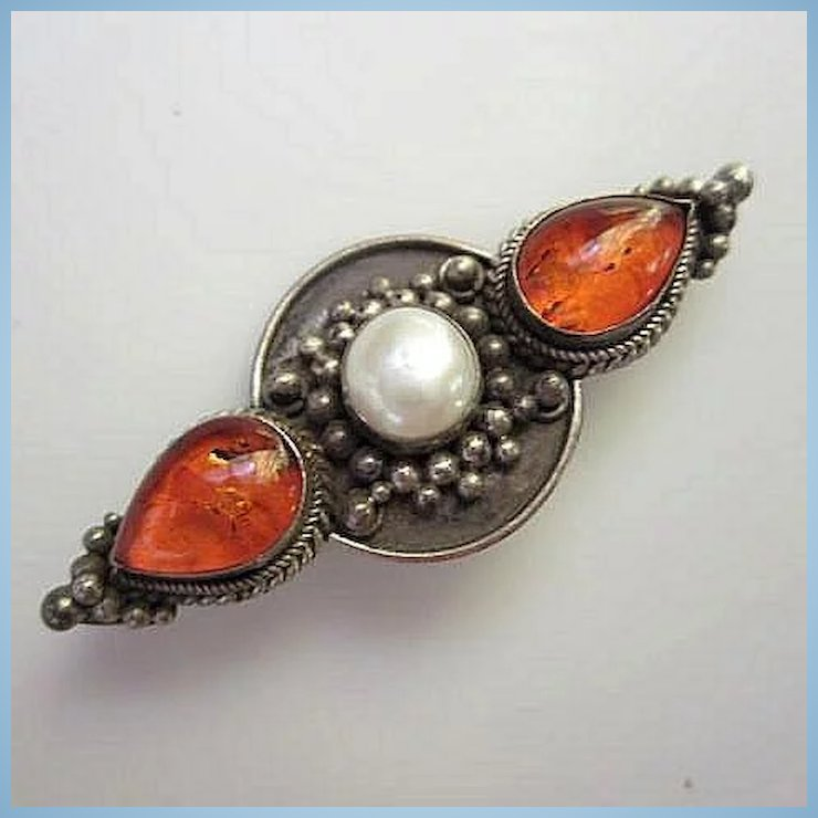 Lovely Genuine Amber Mobe Pearl Sterling Silver Vintage Brooch Pin Tiger Lily Emporium