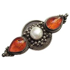 Lovely Genuine Amber Mobe Pearl Sterling Silver Vintage Brooch Pin