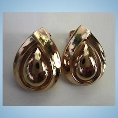 Christian Dior Signed Classic Double Tear Drop Gold Plate Vintage Clip Earrings Excellent Never Worn