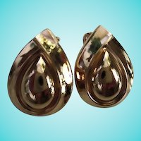 Christian Dior Signed Double Tear Drop Gold Plate Clip Earrings