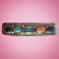 J  Bahe Signed Navajo Sterling Silver Turquoise Opal Coral Lapis Onyx Vintage Cuff Bracelet