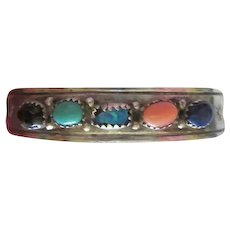 J  Bahe Signed Navajo Sterling Silver Turquoise Opal Coral Lapis Onyx Vintage Cuff Bracelet