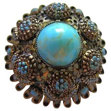 Gorgeous Signed Austria High Domed Turquoise Art Glass Vintage Brooch Pin