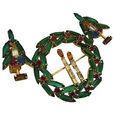 Rare Huge Christmas Wreath Candlesticks Vintage Brooch Earrings