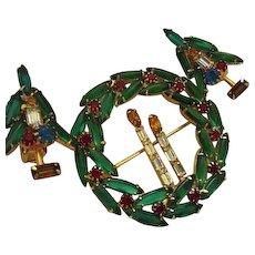 Rare Huge Christmas Wreath Candlesticks Vintage Brooch Earrings Demi