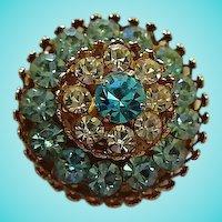Coro Brilliant Blues Rhinestone Circle Vintage Brooch Pin Signed