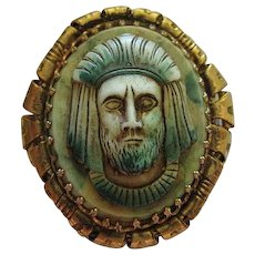 Egyptian Revival Cameo Vintage Brooch Pin Pendant