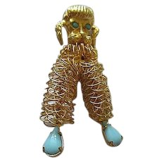 Vintage Hand Wired Poodle Brooch Pin fx Turquoise Mid Century