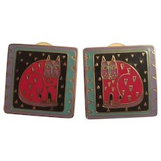 Whimsical  Laurel Burch Signed Enamel Fantastic Felini Vintage Earrings