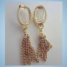 Intaglio Cameo Clear Crystal  Dangle Vintage Pierced Earrings