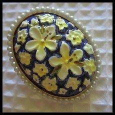 Toshikane Porcelain Orchid Vintage Japanese Arita Pin Vintage Brooch Pin