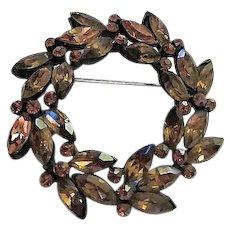 Weiss signed Topaz Crystal Rhinestone Japanned Wreath Brooch Pin